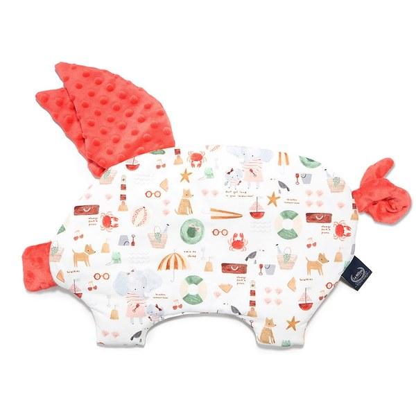 La Millou 豆豆小豬枕-海灘小象(紅)-粉橘小太陽