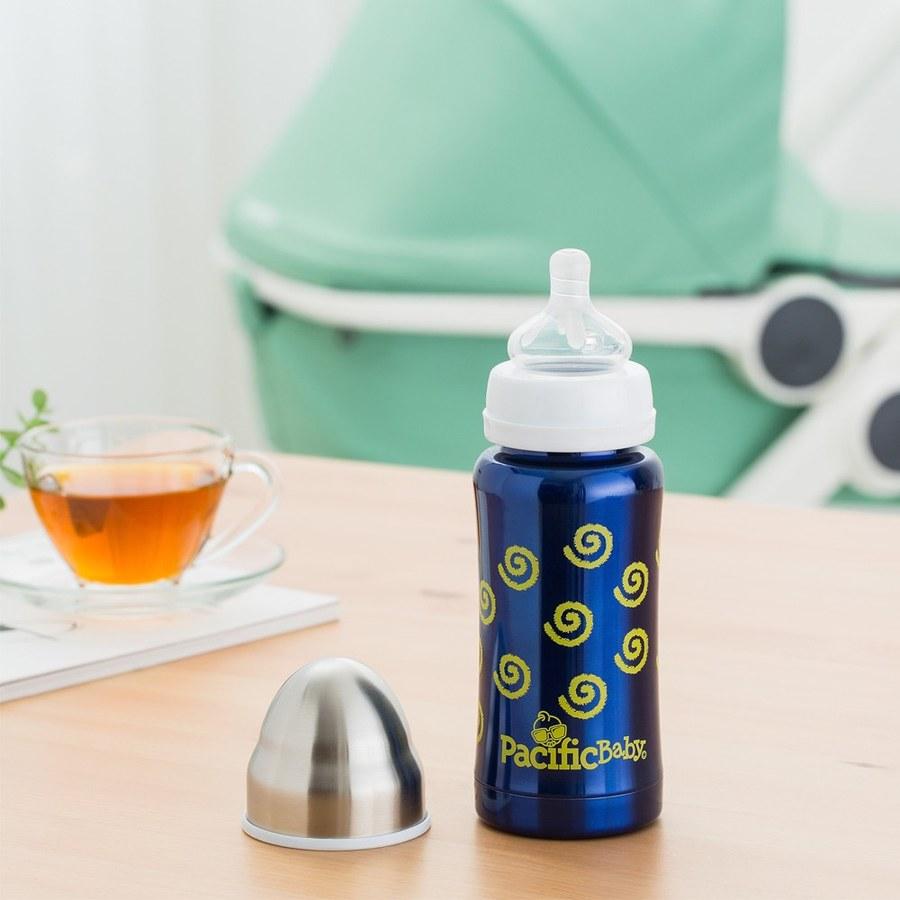 Pacific Baby 3in1全階段304不鏽鋼保溫奶瓶禮盒組200ml(7oz勇氣藍+亮亮綠配件組)