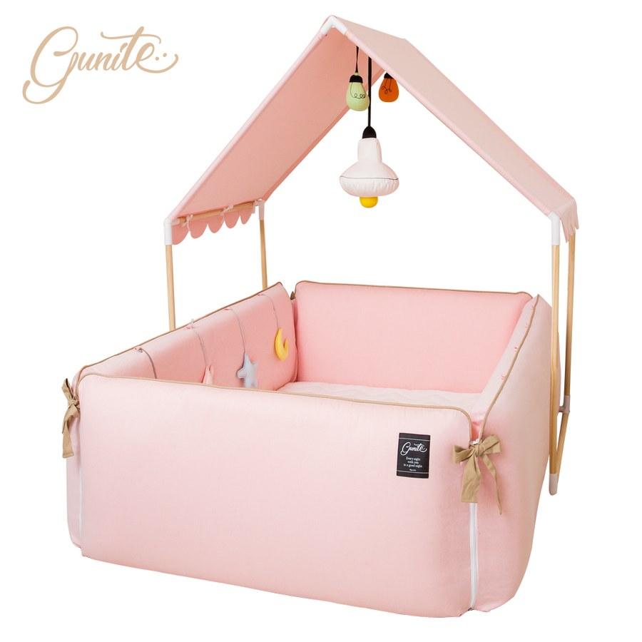 【此商品為預購,預計1/22起出貨】【gunite】沙發嬰兒床全套組_安撫陪睡式0-6歲(巴黎粉)