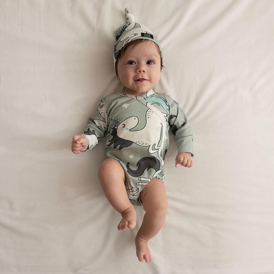 La Millou 新生兒彌月禮包屁衣2件組_3-6m-童話獨角獸(綠底)+La Millou Family II