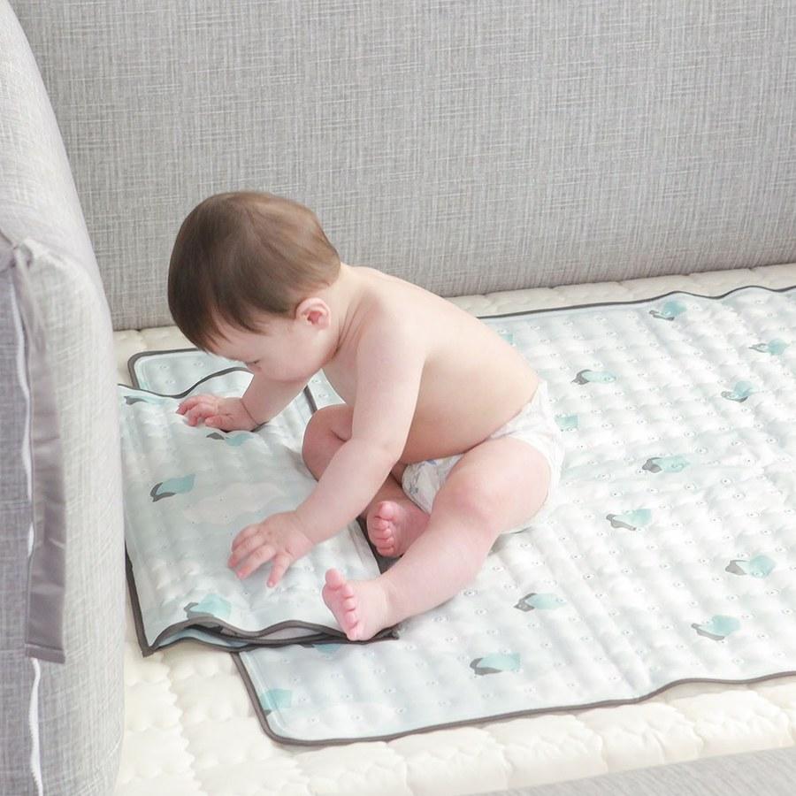 【韓國 lolbaby】Hi Jell-O涼感蒟蒻床墊加大_涼嬰兒兒童床墊(水湖塗鴉)