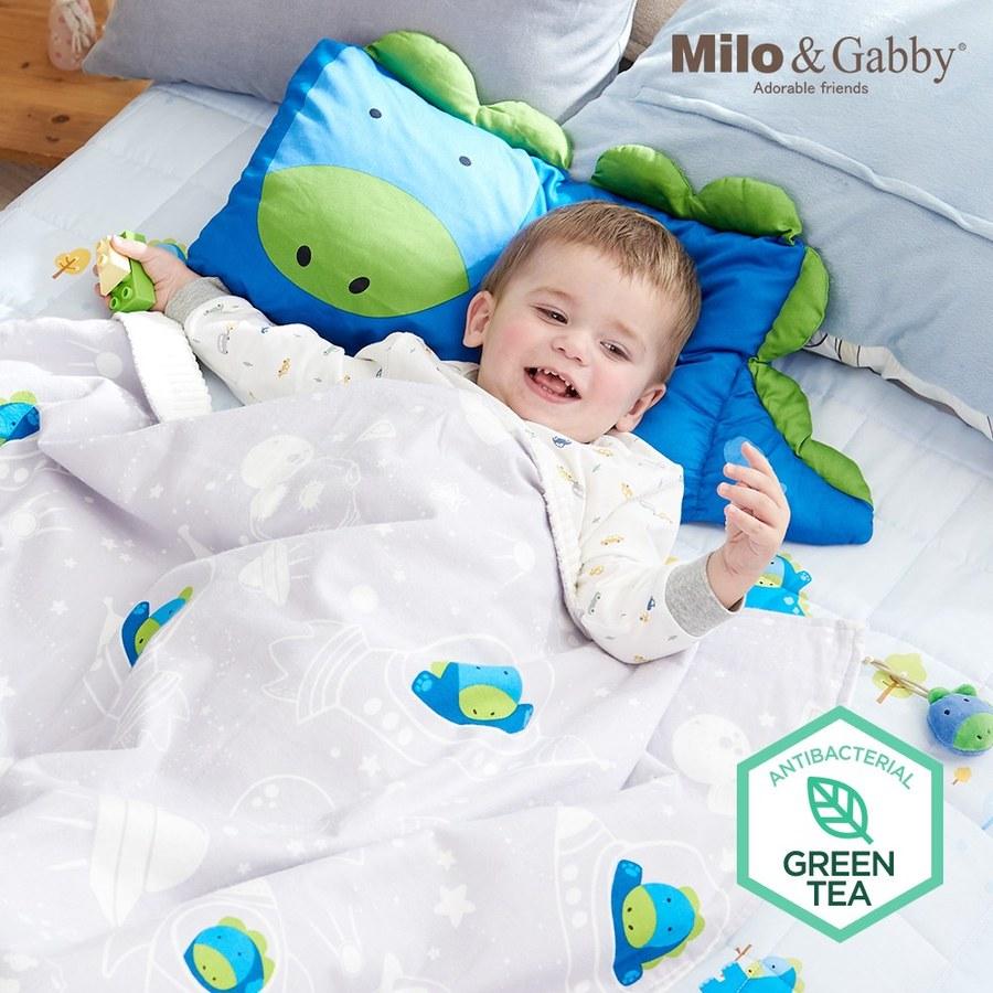 Milo & Gabby 動物好朋友-雙面寶寶棉蓋毯(太空DYLAN)