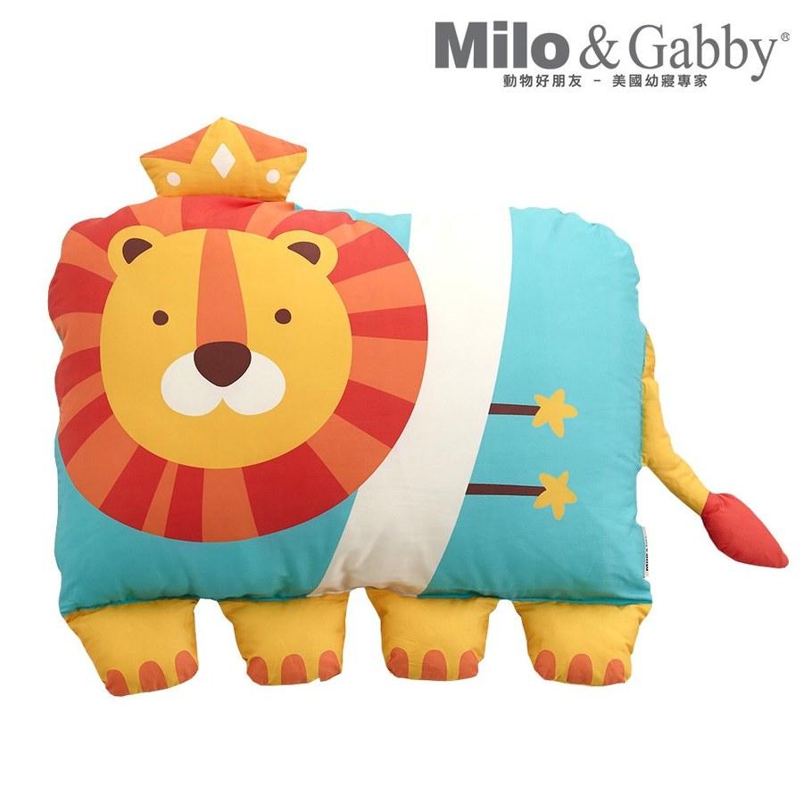 【此商品為預購品,於4/10起出貨】Milo & Gabby 動物好朋友-超細纖維防蟎大枕心+枕套組(Lonnie小獅王)