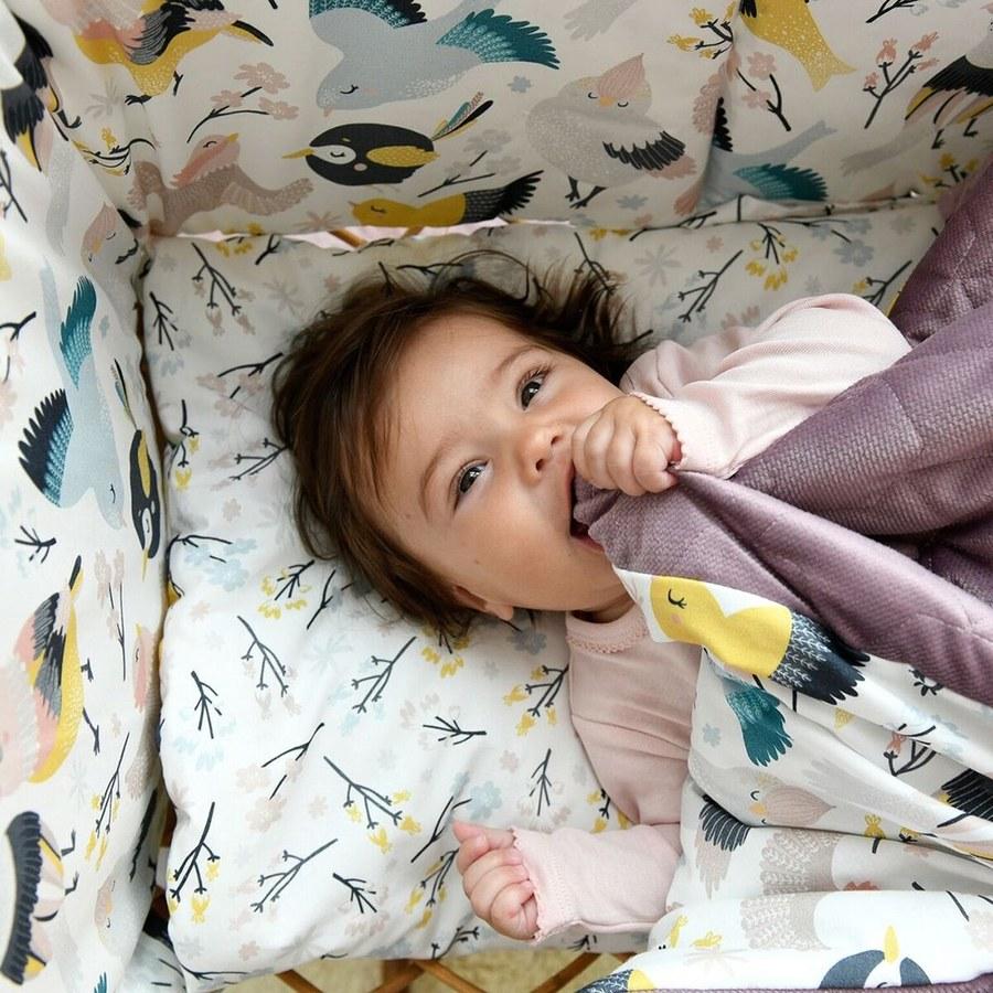 La Millou Velvet頂級棉柔系列雙面柔柔毯(加大款)-可愛鳥語-舒柔灰紅