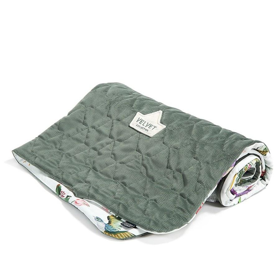 La Millou Velvet頂級棉柔系列雙面柔柔毯(加大款)-天堂鳥花園-舒柔墨綠