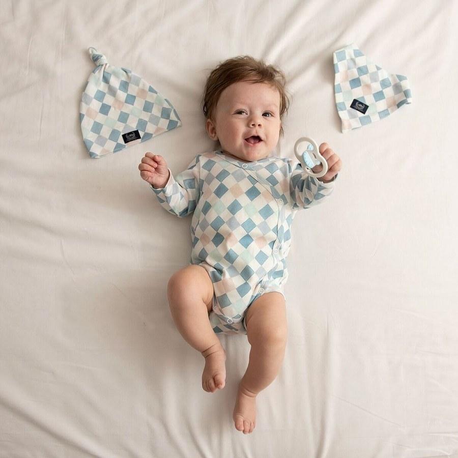 La Millou 新生兒彌月禮包屁衣帽巾全套組_3-6m-La Millou菱格紋