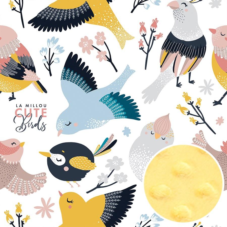 La Millou 單面巧柔豆豆毯(加大款)-可愛鳥語(清恬芒果黃)