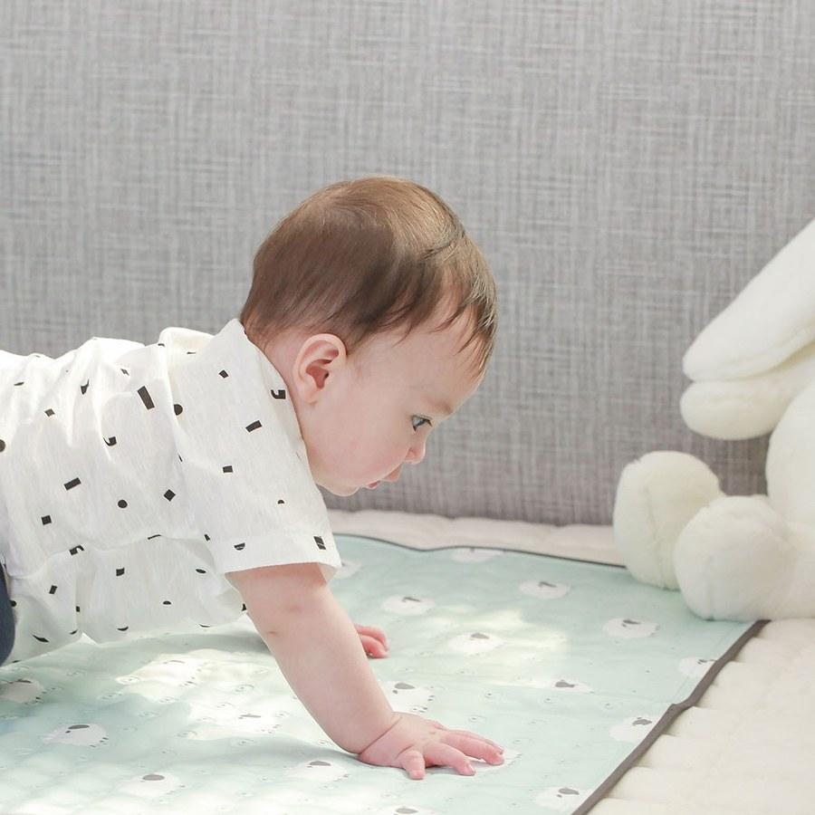 【韓國 lolbaby】Hi Jell-O涼感蒟蒻床墊加大_涼嬰兒兒童床墊(青草綿羊)