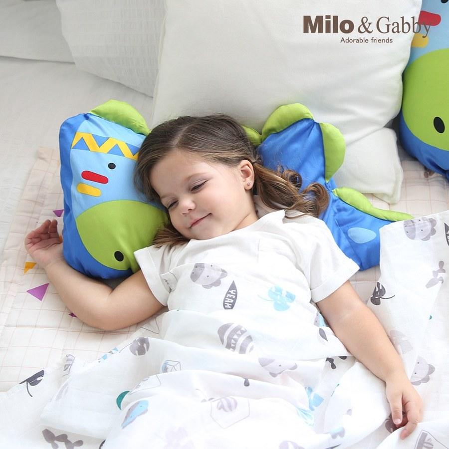 【此商品為預購品,於4/10起出貨】Milo & Gabby 動物好朋友-超細纖維防蹣抗菌mini枕心+枕套組(DYLAN印第安恐龍)