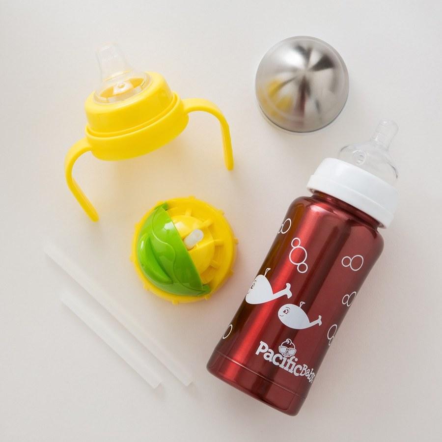 Pacific Baby 3in1全階段304不鏽鋼保溫奶瓶禮盒組200ml(7oz貼心紅+亮亮綠配件組)