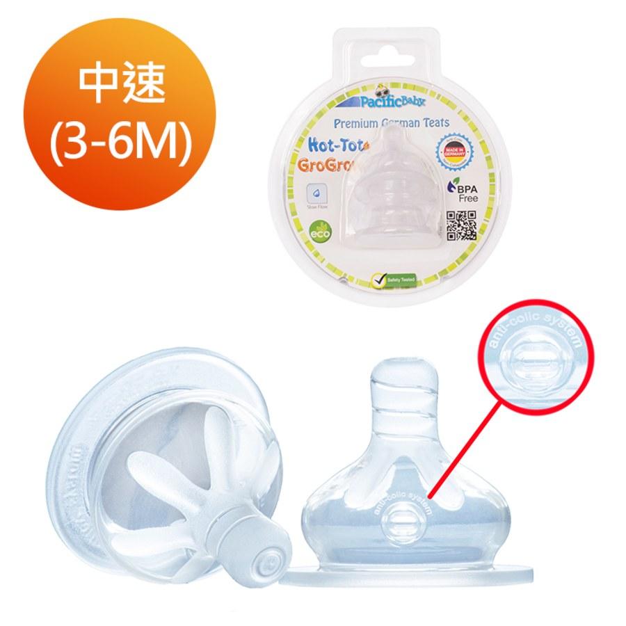 Pacific Baby 美國寬口徑德製防漏防脹氣奶嘴2入組-中速中圓洞(3-6個月)