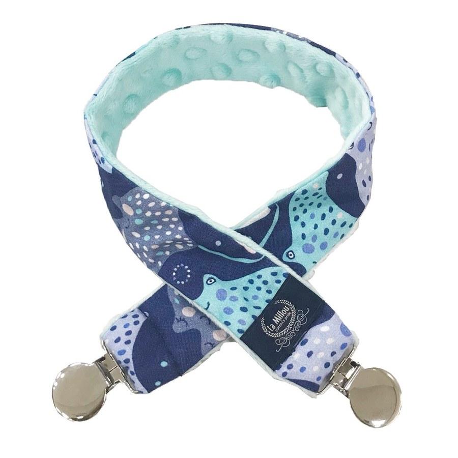 La Millou 豆豆多功能防掉夾(50cm)-微笑彩魟魚(藍底)-粉嫩薄荷綠