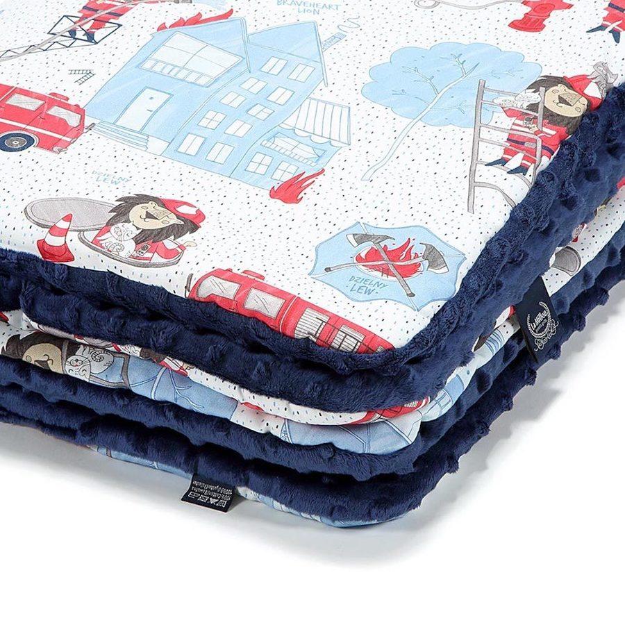 La Millou 暖膚豆豆毯(加大款)-打火小英雄(藍底)-勇氣海軍藍