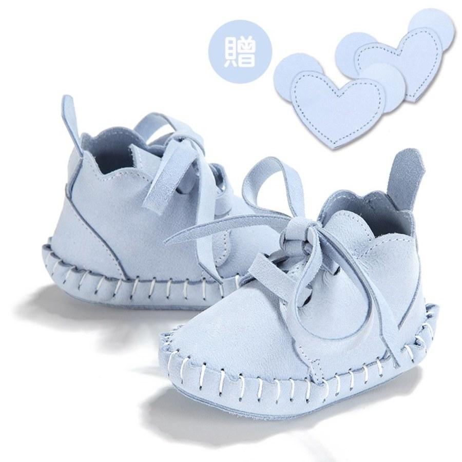 La Millou Moonies頂級羊皮嬰兒鞋禮盒6-11m_綁帶款(蘇打)