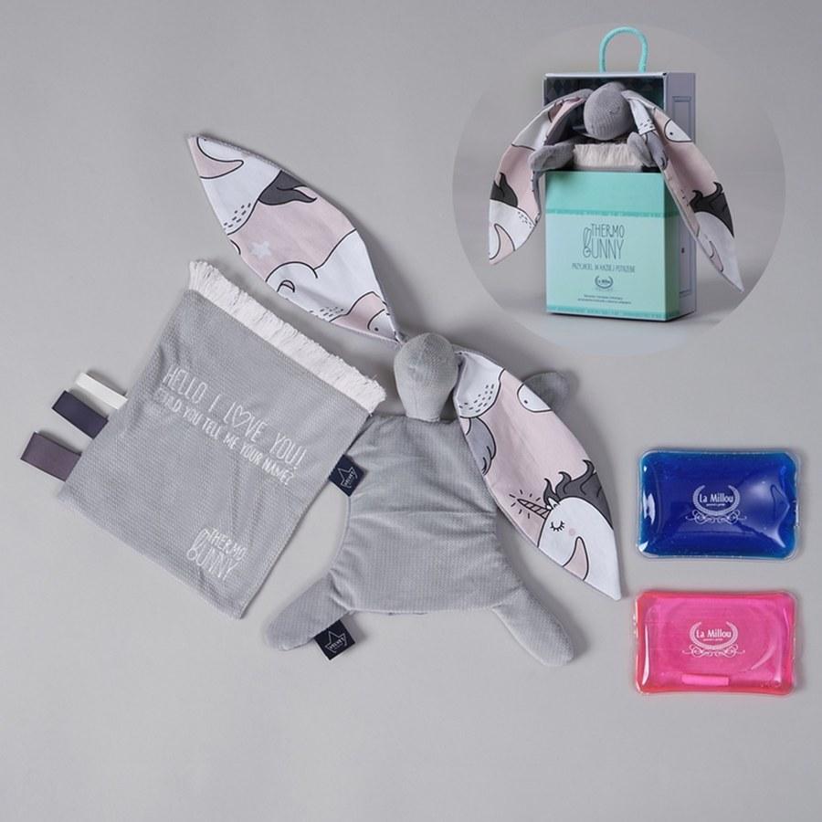 La Millou Velvet頂級棉柔系列-長耳安撫巾兔禮盒(舒柔深灰)