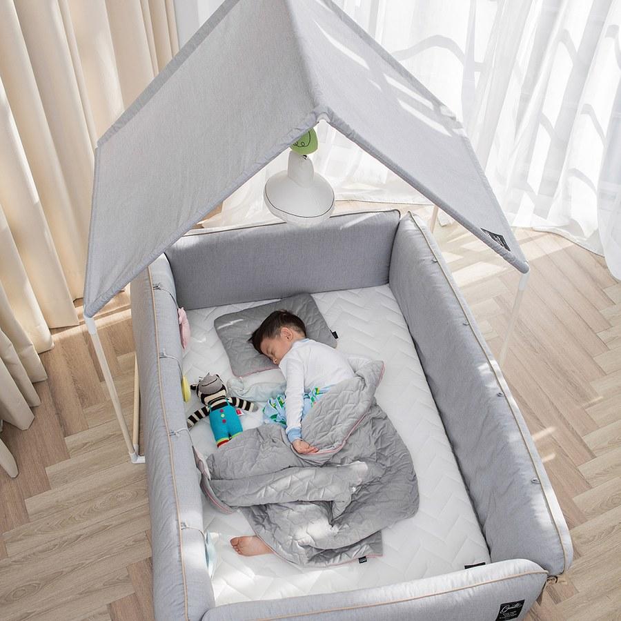 【此商品為預購,預計4/24起出貨】【gunite】沙發嬰兒床全套組_安撫陪睡式0-6歲(北歐灰)