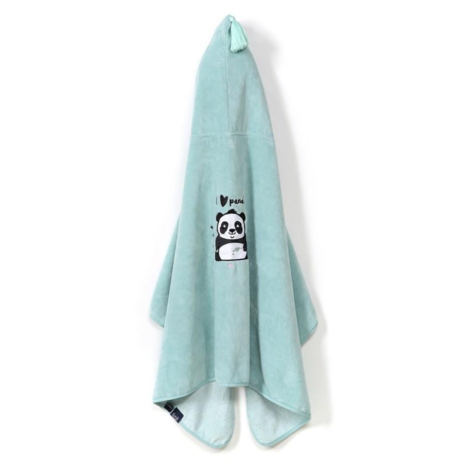 La Millou Jersey時尚篷篷浴巾_加大2Y-8Y- 胖達功夫熊(粉嫩糖果綠)