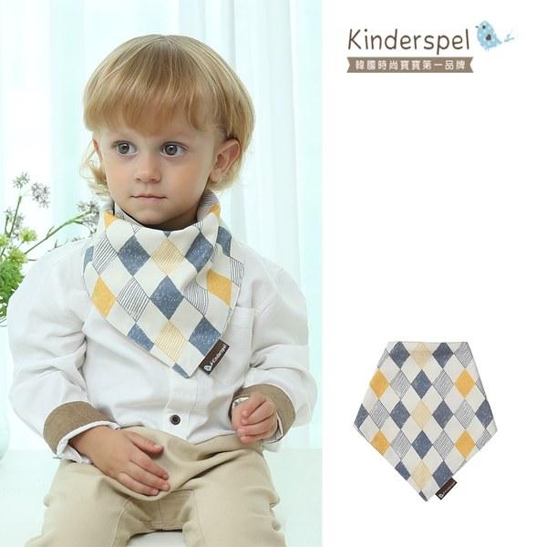 Kinderspel 繽紛時尚‧有機棉圍兜領巾 (英倫灰菱格)