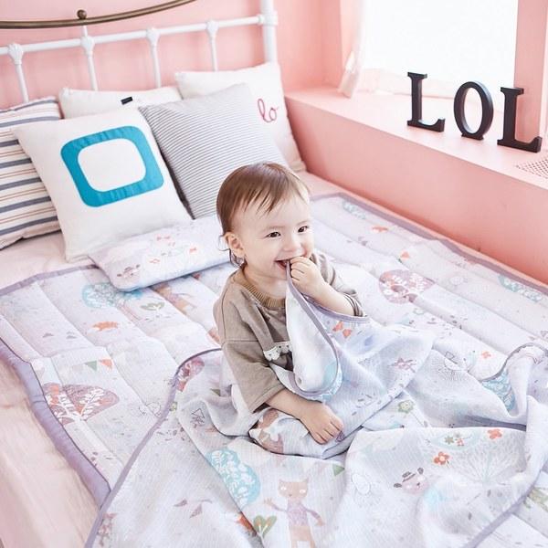 【韓國 lolbaby】Rayon防靜電‧輕薄柔軟三合一枕被床墊組(夢幻藍森林)