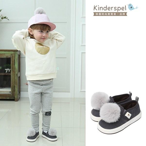 Kinderspel 可愛球球帆布鞋(灰)