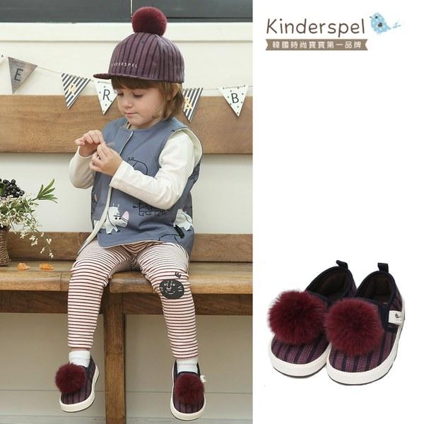 Kinderspel 可愛球球帆布鞋(咖啡紫)