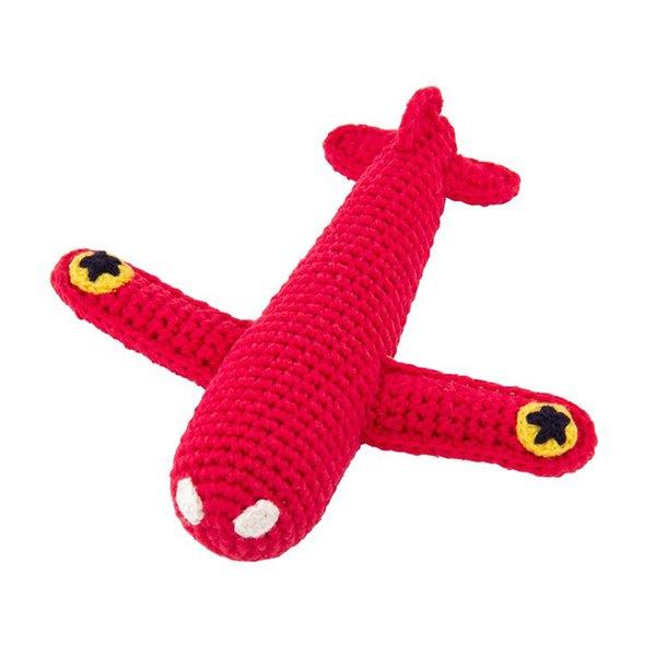 global affairs 童話手工編織安撫搖鈴_飛機系列(日出紅)