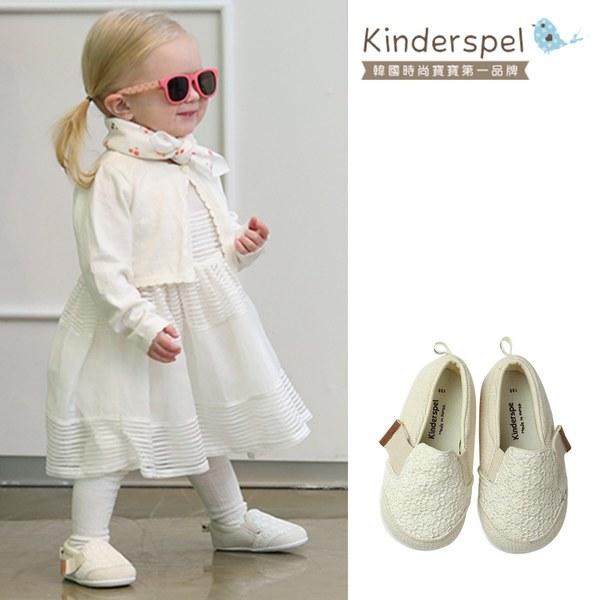 Kinderspel 輕柔細緻.郊遊趣休閒學步鞋(米白蕾絲)
