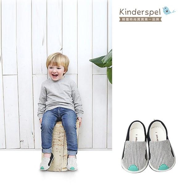 Kinderspel 郊遊趣休閒學步鞋-條紋小紳士