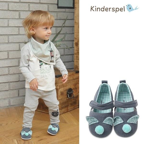 Kinderspel 輕柔細緻.郊遊趣休閒學步鞋(毛球藍)