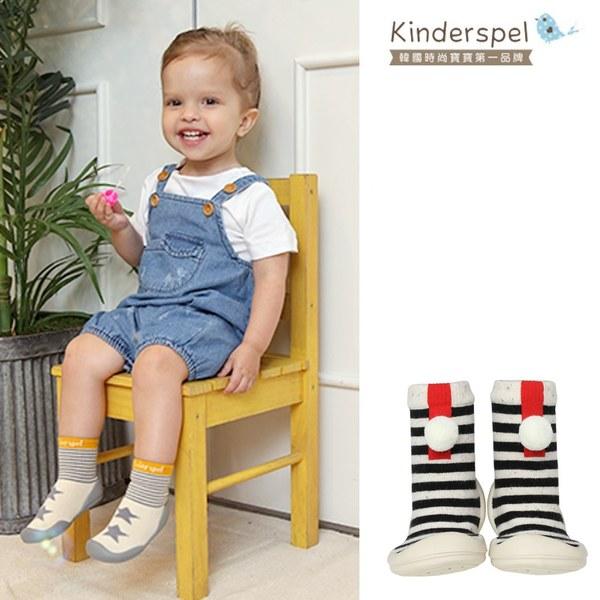 Kinderspel 輕柔細緻.套腳腳襪型學步鞋(13CM)-紳士條紋黑