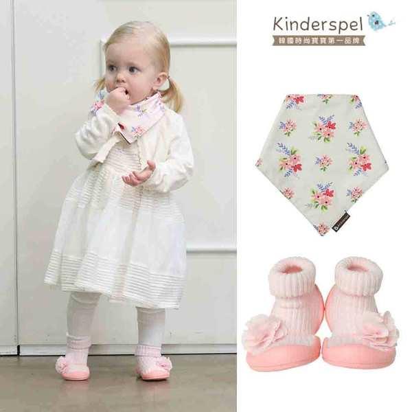 【萌夏穿搭】Kinderspel 氣質小可愛-套腳腳襪型學步鞋+有機棉圍兜領巾(花朵奶油粉+公主花園)