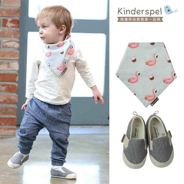 【萌夏穿搭】Kinderspel 郊遊小可愛-郊遊趣休閒學步鞋+有機棉圍兜領巾(藍白條紋+熱帶紅鶴)