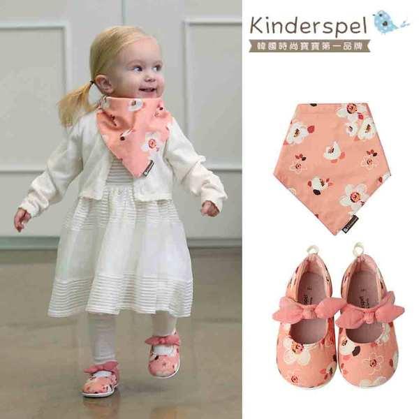 【萌夏穿搭】Kinderspel 可愛愛麗絲-郊遊趣休閒學步鞋+有機棉圍兜領巾(蝴蝶結_夢幻愛麗絲)