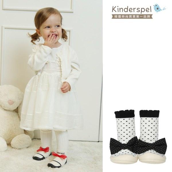 Kinderspel 輕柔細緻.套腳腳襪型學步鞋(13CM)-點點芭蕾黑