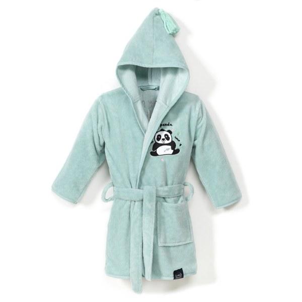 La Millou Jersey時尚篷篷睡袍浴袍_加大2.5-5Y- 胖達功夫熊(粉嫩糖果綠)