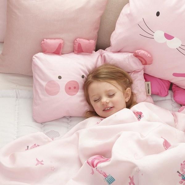 Milo & Gabby 動物好朋友-超細纖維防蹣抗菌mini枕心+枕套組(VIVIAN迷你豬)