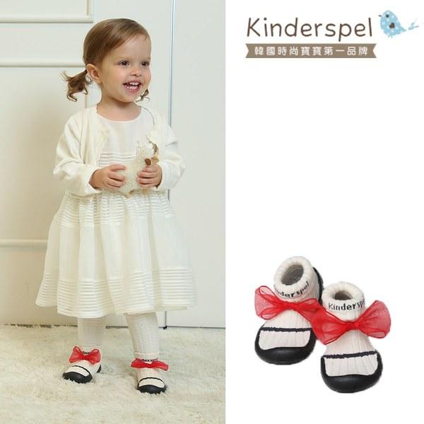 Kinderspel 輕柔細緻.套腳腳襪型學步鞋(紳士紅蝴蝶結)