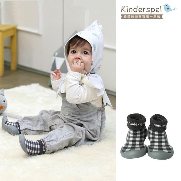 Kinderspel 輕柔細緻.套腳腳襪型學步鞋(格紋方塊黑)