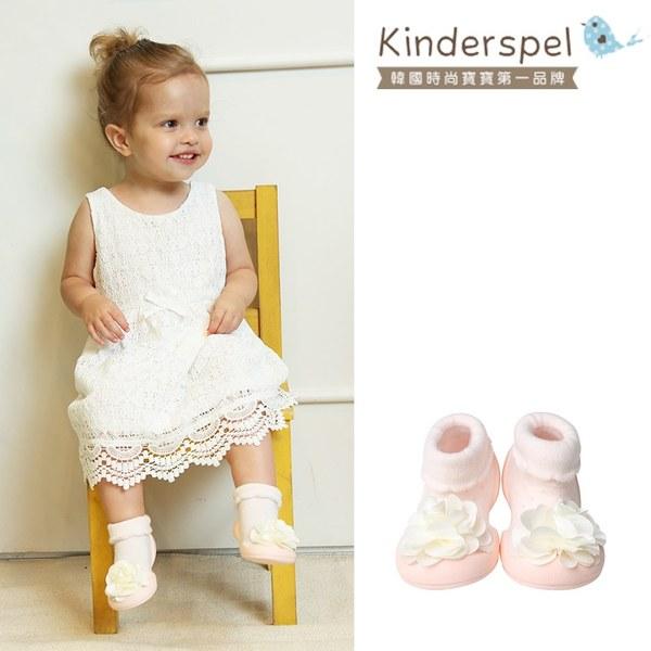 Kinderspel 輕柔細緻.套腳腳襪型學步鞋(粉紅白花朵)