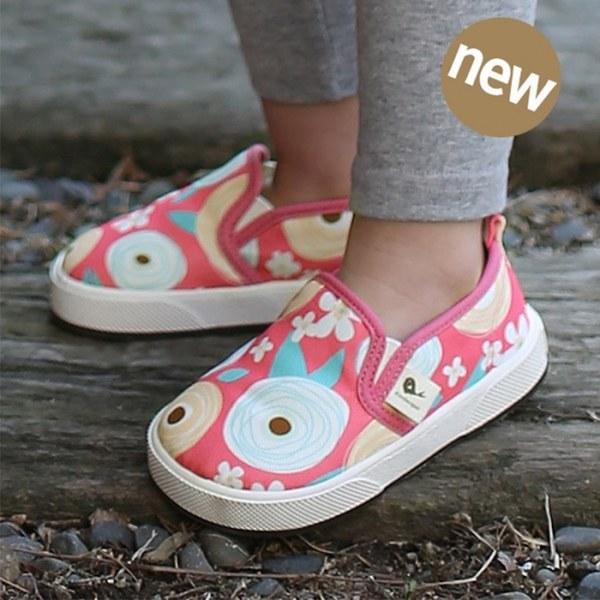 Kinderspel 街頭寶貝-正韓彈性舒適帆布鞋 (粉紅棒棒糖)