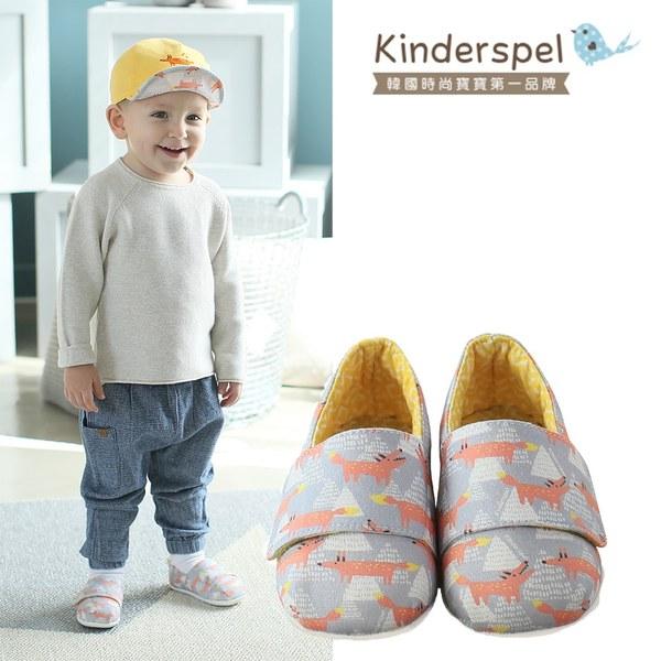 Kinderspel 輕柔細緻.棉花糖休閒學步鞋(蛋黃小木狼)