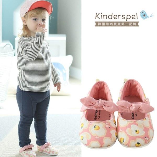 Kinderspel 輕柔細緻.棉花糖休閒學步鞋(粉紅蛋苞花-蝴蝶結)