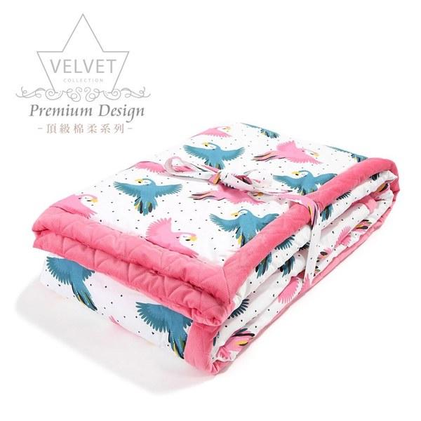 La Millou velvet頂級棉柔系列-雙面柔柔毯大人款-糖果鸚鵡(舒柔亮桃)