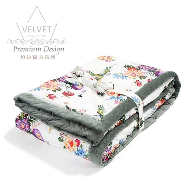 La Millou velvet頂級棉柔系列-雙面柔柔毯大人款-天堂鳥花園(舒柔墨綠)
