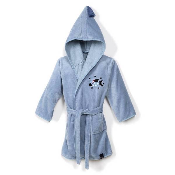 La Millou Jersey 時尚篷篷睡袍浴袍_加大2.5-5Y-頑皮搗蛋魚(蒙地卡羅藍)