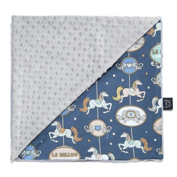La Millou 單面巧柔豆豆毯-旋轉小木馬(藍底)-牛奶星空灰