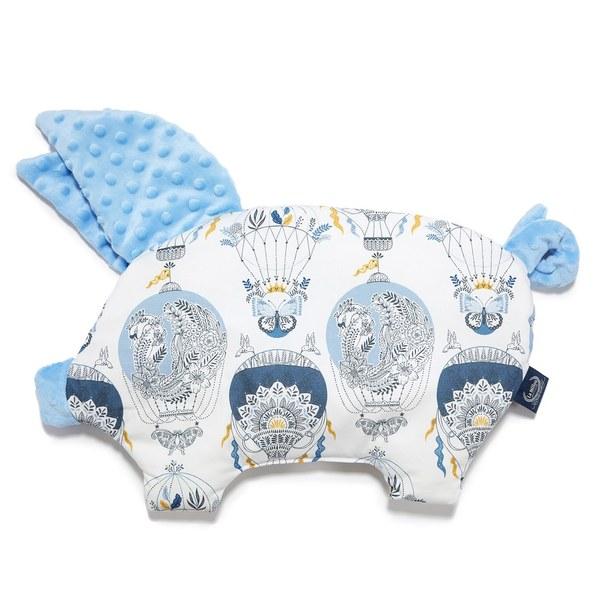 La Millou 豆豆小豬枕-夢想熱氣球(藍)-蒙地卡羅藍