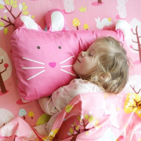 Milo & Gabby 動物好朋友-超細纖維防蹣抗菌mini枕心+枕套組(LOLA兔兔)