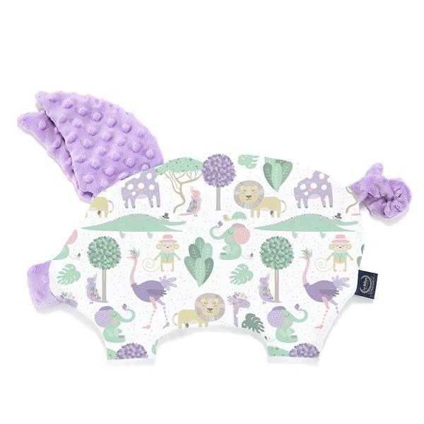 La Millou  豆豆小豬枕-動物探險隊(紫底)-粉紫馬卡龍