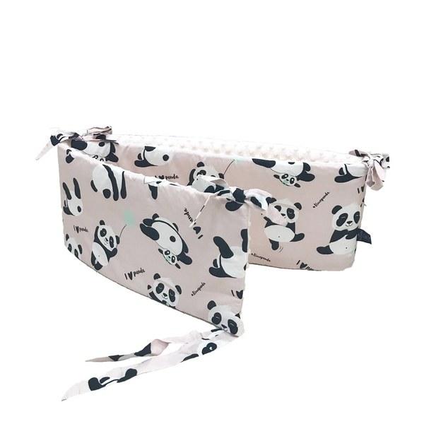 La Millou 拉米洛100%純棉床圍護欄-胖達功夫熊(雲朵白)